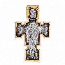 Золотой двусторонний крест Распятие и Архангел Михаил