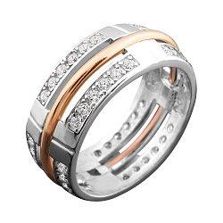 Серебряное кольцо с золотой накладкой, фианитами и родированием 000068143