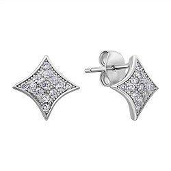 Серебряные серьги-пуссеты с фианитами 000132618