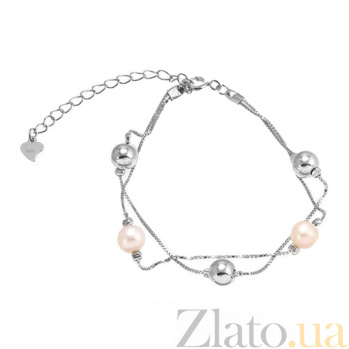 Серебряный браслет с жемчугом Valentine 000027958
