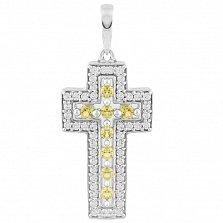 Серебряный крестик Карла с желтым хризолитом и фианитами