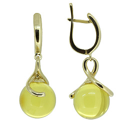 Золоті сережки у жовтому кольорі з бурштином Ія