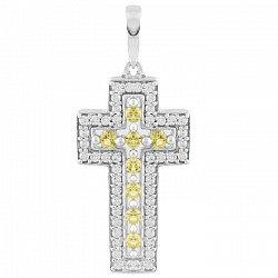 Серебряный крестик с желтым хризолитом и фианитами 000065927