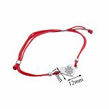Шелковый браслет Снежное сердце с серебряной фигурной вставкой