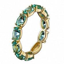 Золотое кольцо Альварра в евро цвете с синтезированным зеленым кварцем