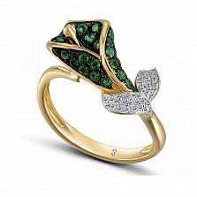 Кольцо из желтого золота Рамона с бриллиантами и изумрудами