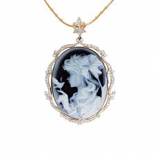 Золотой подвес с бриллиантами и камеей на агате Camellia