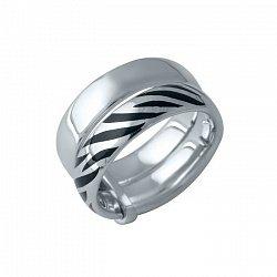 Серебряное двойное кольцо Сафари: Шокированная зебра с узором из черной эмали