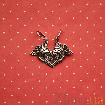 Серебряная парная подвеска Влюбленные сердца (разламывающаяся) AUR--74295/a