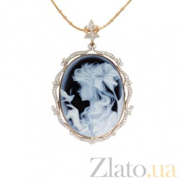 Золотой подвес с бриллиантами и камеей на агате Camellia ZMX--PD-00281