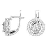Серебряные серьги Кристалл с прозрачными фианитами