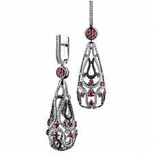 Золотые серьги с рубинами и бриллиантами Шахерезада