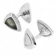 Серебряные запонки Триллион с эмалью и  фианитами