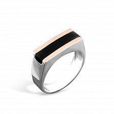 Серебряный перстень-печатка Кристоф с золотыми накладками и имитацией оникса