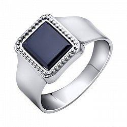 Серебряный перстень-печатка с черным ониксом 000102985
