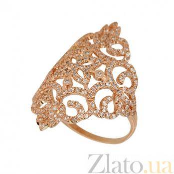 Кольцо из красного золота Кружево с белыми фианитами VLT--ТТТ1179