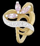 Серебряное кольцо с позолотой и фиолетовым цирконием Розмари