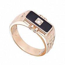 Перстень в красном золоте Благородство с эмалью и фианитом