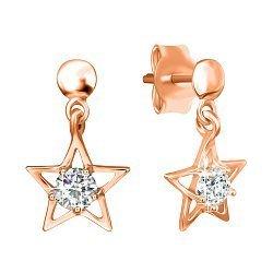 Серебряные серьги-подвески Звезды с фианитами и позолотой