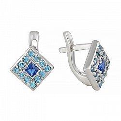 Серьги из серебра с синим и голубым цирконием 000024607