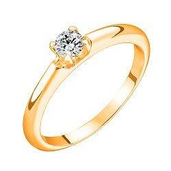 Золотое кольцо в желтом цвете с бриллиантом 0,3ct 000070549