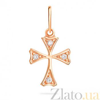 Золотой крестик с фианитами Мальтийский SUF--440456