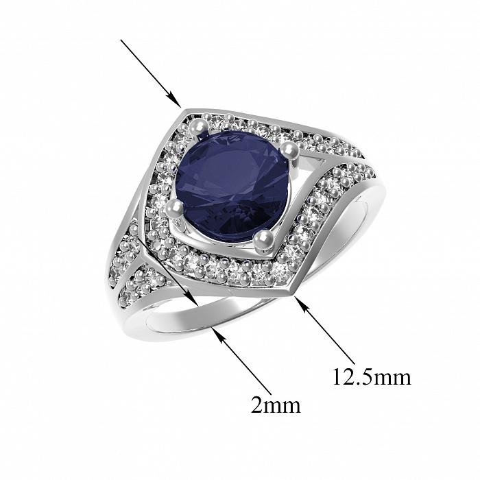 Серебряное кольцо Спарта с наносапфиром и фианитами 000079696