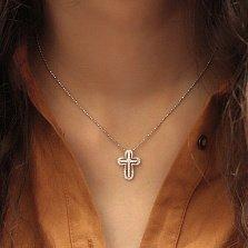Серебряный крестик с фианитами Благословение