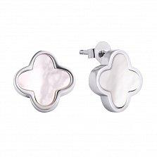 Серебряные серьги-пуссеты Лайма с цветочком и перламутром в стиле Ван Клиф