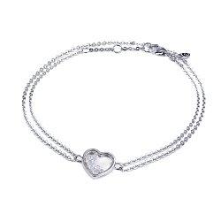 Серебряный двойной браслет Сердце малое с плавающими белыми фианитами, 8x8мм