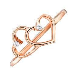 Золотое кольцо Два сердечка в красном цвете с фианитами 000129783