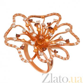 Кольцо из красного золота Камелия с фианитами VLT--Т1147-2