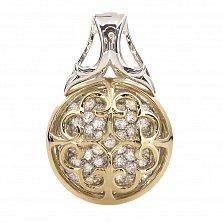 Серебряный кулон с золотыми вставками и цирконием Мойра