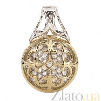 Серебряный кулон с золотыми вставками и цирконием Мойра 000030284