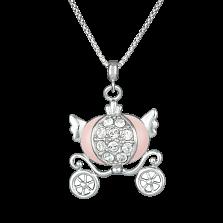 Детское серебряное колье Карета для принцессы с эмалью и фианитами