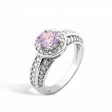 Серебряное кольцо Алисия с розовым и белыми фианитами