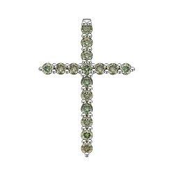 Крестик из белого золота с 16 зелеными бриллиантами 0.66ct 000145342