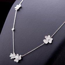 Колье из серебра Любимые цветы с фианитами