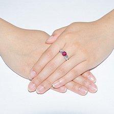 Серебряное кольцо Тюльпан с рубином и цирконием
