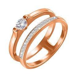 Серебряное кольцо с позолотой и фианитами 000052236