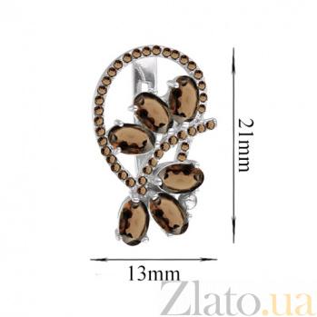 Серебряные серьги с раухтопазами Вуаль 000029193