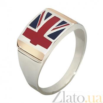 Серебряное кольцо с золотой вставкой Британец BGS--650/1