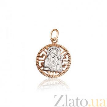 Золотая ладанка Казанская Божья Матерь из красного и белого золота EDM--П0200