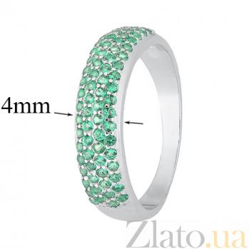 Серебряное кольцо с зелеными фианитами Жазира 000028320