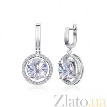 Серебряные серьги-подвески с фианитами Аморетте 000024647