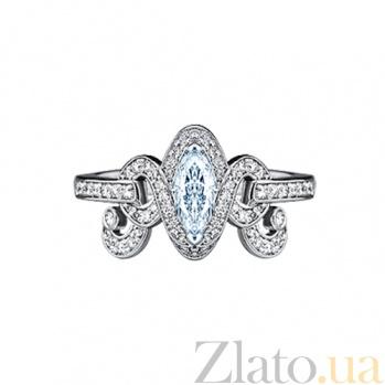 Золотое кольцо с аквамарином и бриллиантами Антуанетта 000029731
