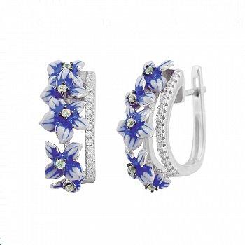 Серебряные серьги Лобелия с фианитами, синей и белой эмалью 000081832