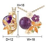 Золотой кулон с аметистами, топазами, хризолитами, перламутром и бриллиантами Нежное соцветие