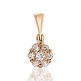 Золотой кулон Незабудка с бриллиантами