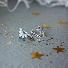Серебряные серьги Цветочный веер с фианитами